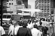 Crowds  Prints - Downtown 1990s Print by John Rizzuto