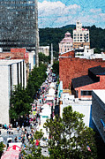 Nc Prints - Downtown Asheville Street Scene - Western North Carolina Print by Anne Beatty