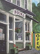 Purple Awnings Prints - Downtown Books Print by Susan Richardson