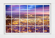 Picture Window Frame Photos Art - Downtown Boulder Colorado City Lights Sunrise  Window View 8LG by James Bo Insogna