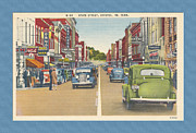 Virginia Postcards Posters - Downtown Bristol Va TN 1930 - 40 Poster by Denise Beverly