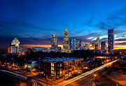 Charlotte Nc Photography Posters - Downtown Charlotte with skyline in background Poster by Patrick Schneider