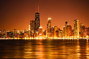 Chicago Art - Downtown Chicago at Night with Chicago Skyline by Paul Velgos