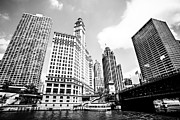 Michigan Prints - Downtown Chicago Buildings Black and White Picture Print by Paul Velgos