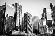 Businesses Photo Framed Prints - Downtown Chicago Buildings in Black and White Framed Print by Paul Velgos
