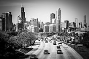 Chicago Skyline Black White Posters - Downtown Chicago Lake Shore Drive in Black and White Poster by Paul Velgos