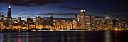 Chicago Photography Posters - Downtown Chicago Panorama Poster by Andrew Soundarajan