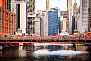 Lasalle Street Bridge Prints - Downtown Chicago Skyline at LaSalle Street Bridge Print by Paul Velgos