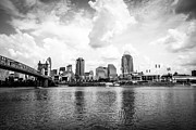 Black And White Ball Park Framed Prints - Downtown Cincinnati Skyline Black and White Picture Framed Print by Paul Velgos