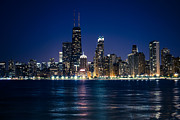 Chicago Prints - Downtown City of Chicago at Night Print by Paul Velgos