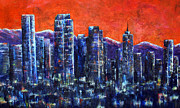 Denver Painting Acrylic Prints - Downtown Denver Acrylic Print by Jennifer Morrison Godshalk