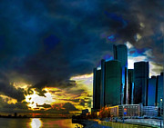 River Scenes Mixed Media Prints - Downtown Detroit at Dusk Print by Byron Fli Walker