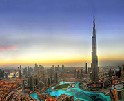 Fountain Photo Prints - Downtown Dubai at Sunset Print by Lars Ruecker