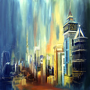 Oil On Canvas Painting Originals - Downtown Dubai Skyline by Corporate Art Task Force