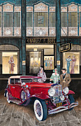 Fashion Painting Originals - Downtown Duesenberg 1931 by Mike Hill