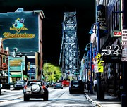 Bay Bridge Mixed Media Metal Prints - Downtown Duluth Painted Metal Print by Todd and candice Dailey