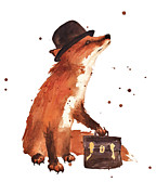 Little Boy Paintings - Downtown Fox by Alison Fennell
