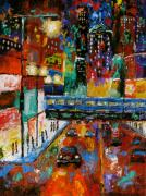 City Night Scene Paintings - Downtown Friday Night by J Loren Reedy