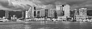 Dark Night Rises Posters - Downtown Honolulu Hawaii dusk skyline black and white Poster by Ken Brown