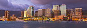 Dark Night Rises Prints - Downtown Honolulu Hawaii dusk skyline Print by Ken Brown