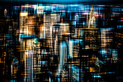 Nyc Digital Art Metal Prints - Downtown II - dark Metal Print by Hannes Cmarits