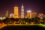 Indiana Trees Prints - Downtown Indianapolis Skyline at Night Picture Print by Paul Velgos