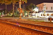 Sabal Palm Trees Prints - Downtown Jensen R R Tracks Print by Lynda Dawson-Youngclaus