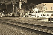 Sabal Palm Trees Prints - Downtown Jensen R R Tracks Sepia Print by Lynda Dawson-Youngclaus