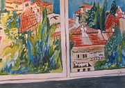 Jerusalem Paintings - Downtown Jerusalem Through a Window by Esther Newman-Cohen
