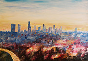 Downtown Los Angeles At Dusk Print by M Bleichner