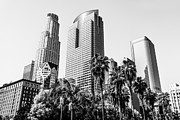 Two Towers Framed Prints - Downtown Los Angeles Buildings in Black and White Framed Print by Paul Velgos