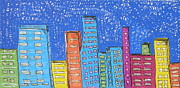 Downtown Drawings Metal Prints - Downtown Metal Print by Marcia Weller-Wenbert
