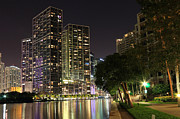 Miami Digital Art Posters - Downtown Miami at night Poster by Brickell Photography