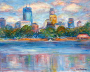 Quin Sweetman Paintings - Downtown Minneapolis Skyline from Lake Calhoun II by Quin Sweetman