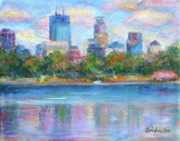 Skyscrapers. Painting Posters - Downtown Minneapolis Skyline from Lake Calhoun Poster by Quin Sweetman