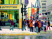American Eagle Paintings - Downtown Montreal Winter Scene American Eagle Outfitters St Catherine Busy Sidewalk Scene C Spandau  by Carole Spandau