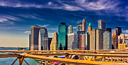 New York City Skyline Framed Prints - Downtown NYC Framed Print by David Hahn