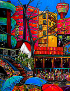 Downtown On The River Print by Patti Schermerhorn