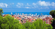 Downtown Panorama Of Barcelona Print by Michal Bednarek