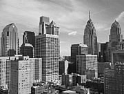 Black And White Art Prints - Downtown Philadelphia Print by Rona Black