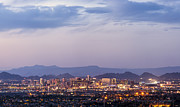 Dark Night Rises Prints - Downtown Phoenix Arizona dusk panorama Print by Ken Brown