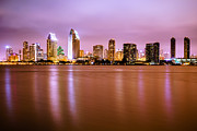 Diego Framed Prints - Downtown San Diego Skyline at Night Framed Print by Paul Velgos