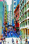 Industrial Mixed Media Prints - Downtown Sao Paulo at Midday Print by Steve Ohlsen