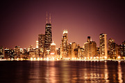 Rose Tower Posters - Downtown Skyline at Night of Chicago Poster by Paul Velgos