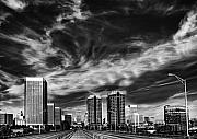 Monochrome Posters - Downtown Skyline Poster by Tim Wilson