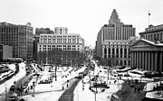 Winter Photos Prints - Downtown Snow 1990s Print by John Rizzuto