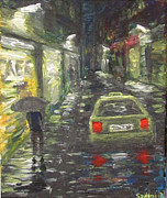 Rainy Street Painting Framed Prints - Downtown street at night Framed Print by Dez Sziklai