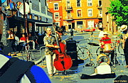 Montreal Sidewalk Terraces Acrylic Prints - Downtown Street Musicians Perform At The Coffee Shop With Cool Tones On A Hot Summer Day Acrylic Print by Carole Spandau
