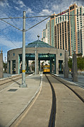 Hi-rise Framed Prints - Downtown Tampa Streetcar Framed Print by Carolyn Marshall