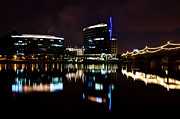 Water Prints - Downtown Tempe Skyline Reflections Print by Dave Dilli